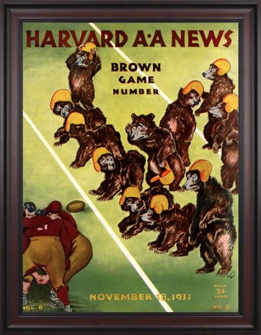 1933 Harvard Crimson Vs. Brown Bears 36 X 48 Framed Canvas Historic Football Print