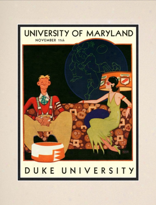 1933 Maryland Terrapins Vs. Duke Blue Devils 10.5x14 Matted Historic Football Print