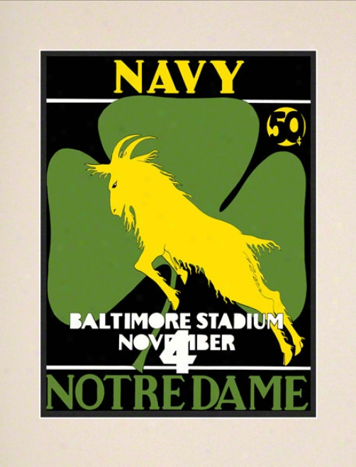 1933 Navy Midshippmen Vs Notre Dame Fighting Irish 10 1/2 X 14 Matted Historic Football Poster