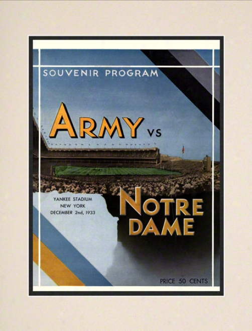 1933 Notre Dame Fighting Irish Vs Host Black Knighhts 10 1/2 X 14 Matted Historic Football Placard
