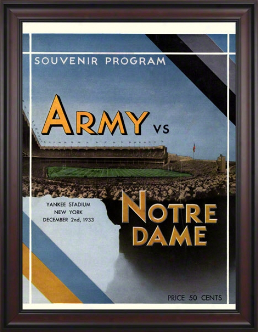 1933 Notre Dame Fighting Irish Vs Army Black Knights 36 X 48 Framed Canvas Historic Football Poster