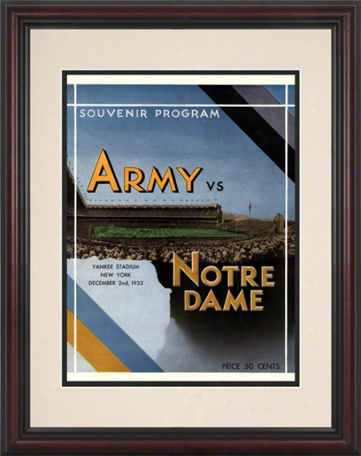 1933 Notre Mistress Fighting Irish Vs Army Black Knights 8.5 X 11 Framed Historic Football Posterr