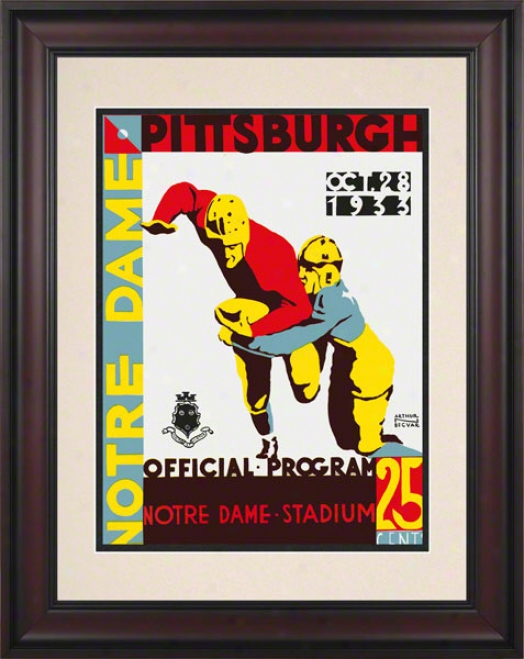 1933 Notre Dame Fighting Irish Vs Pittsburgh Panthers 10 1/2 X 14 Framed Historic Football Poster