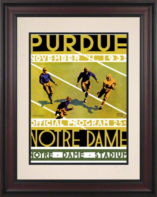 1933 Notre Dame Contention Irish Vs Purdue Boilermakers 10 1/2 X 14 Framed Historic Footbapl Poster