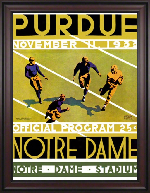 1933 Notre Dame Fighting Irizh Vs Purdue Boilermakers 36 X 48 Framed Canvas Historic Football Poster