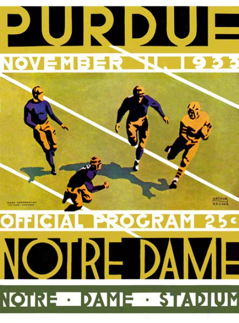 1933 Notre Dame Fighting Irish Vs Purdue Boilermakers 36 X 48 Canvas Historic Football Placard