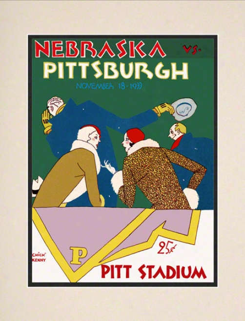 1933 Pitt Vs. Nebraska 10.5x14 Matted Historic Football Stamp