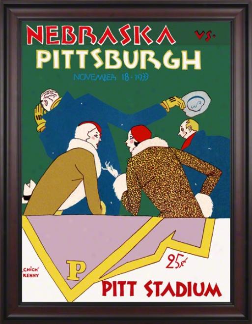 1933 Pitt Vs. Nebraska 36 X 48 Framed Canvas Historic Football Print