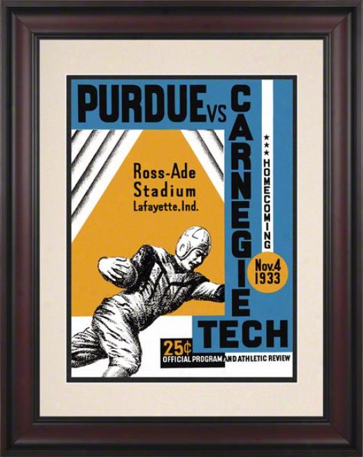 1933 Purdue Vs. Carnegie Tech 10.5x14 Framed Historic Football Print