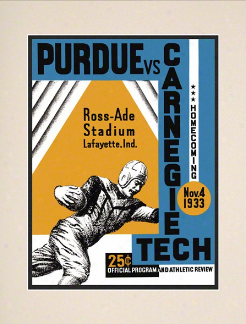 1933 Purdue Vs. Carnegie Tech 10.5x14 Matted Historic Football Print
