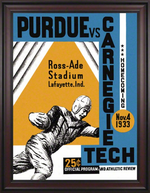 1933 Purdue Vs. Carnegie Tech 36 X 48 Framed Canvas Historic Football Print