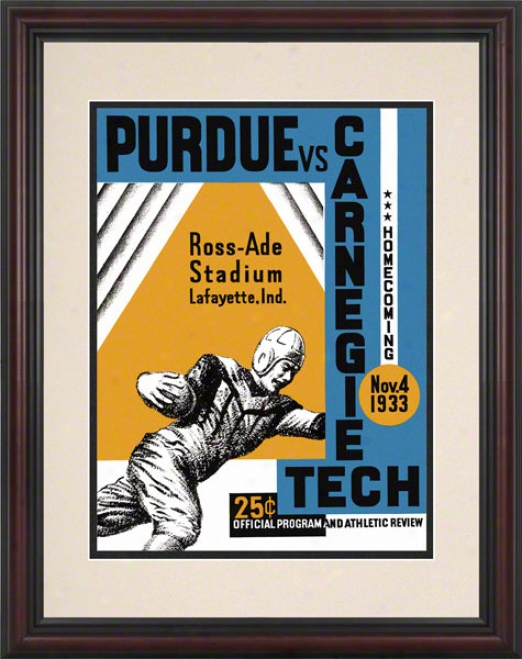 1933 Purdue Vs. Carnegie Tech8.5 X 11 Framed Historic Footbbalk Print
