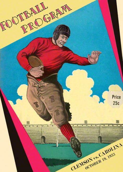 1933 South Carolina Vs. Clemson 36 X 48 Canvas Historic Football Prjnt
