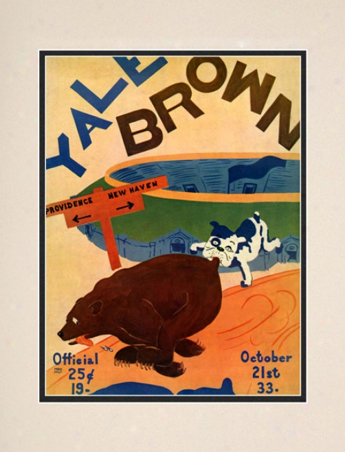 1933 Yale Bulldogs Vs. Brown Bears 10.5x14 Matted Historic Football Print