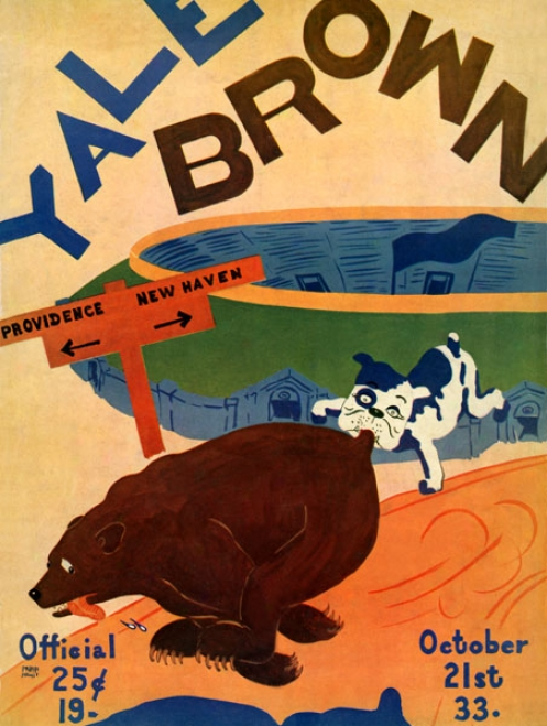 1933 Yale Bulldogs Vs. Brown Bears 36 X 48 Canvas Historic Football Prinnt