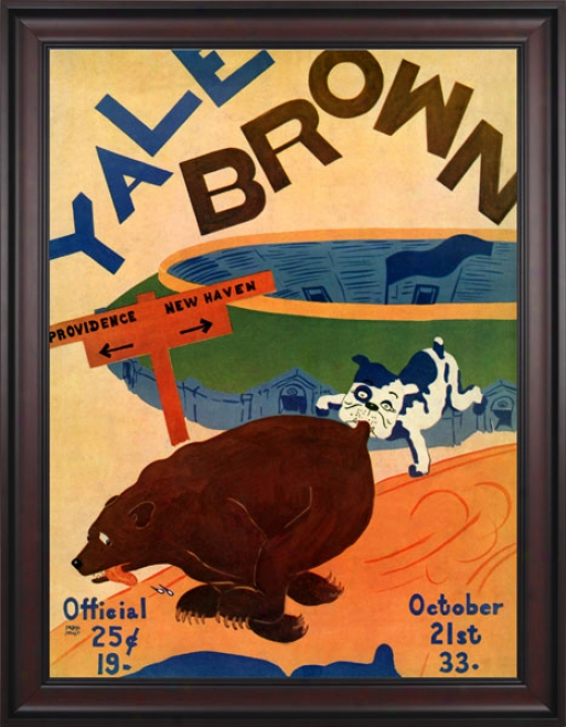 1933 Yale Bulldogs Vs. Brown Bears 36 X 48 Framed Canvas Historic Footbaol Print