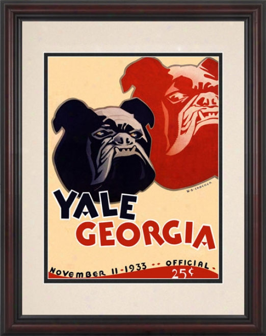 1933 Yale Bulldogs Vs. Georgia Bulldogs .85 X 11 Framed Historic Football Print