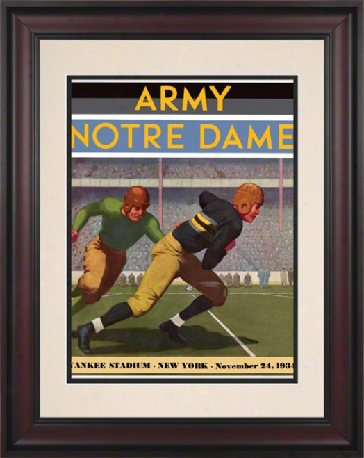1934 Army Black Knights Vs Notre Dame Fighting Irish 10 1/2 X 14 Framed Historic Football Poster