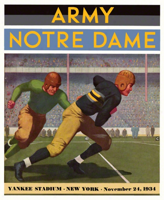1934 Army Black Knights Vs Notre Dame Fighting Irish 22 X 30 Canvas Historic Football Poster