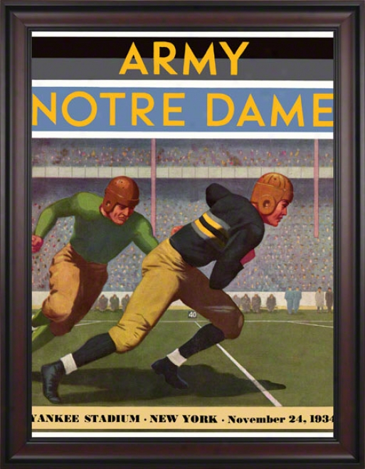 1934 Army Mourning Knights Vs Notre Dame Fighting Irish 36 X 48 Framed Canvas Historic Football Poster
