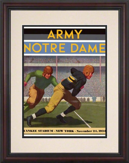 1934 Army Black Knights Vs Notre Dame Fighting Irish 8.5 X 11 Framed Historic Football Poster