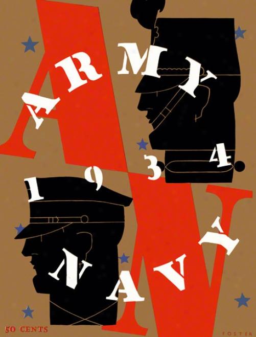 1934 Army Vs. Navy 22 X 30 Canva Historic Football Print