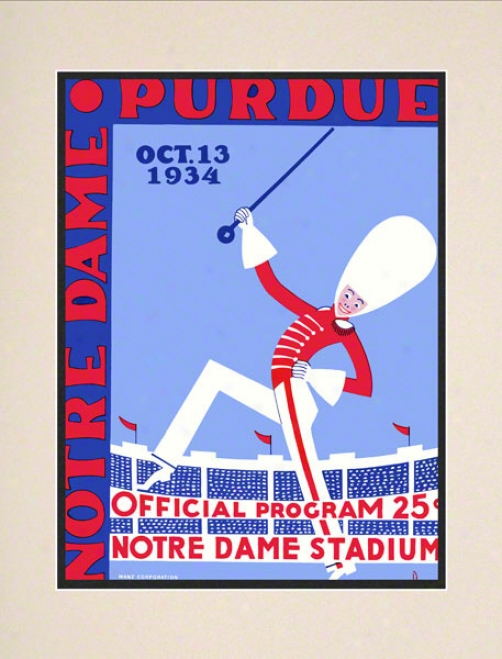 1934 Notre Dame Fighing Irish Vs Purdue Boilermakers 10 1/2 X 14 Matted Historic Football Poster