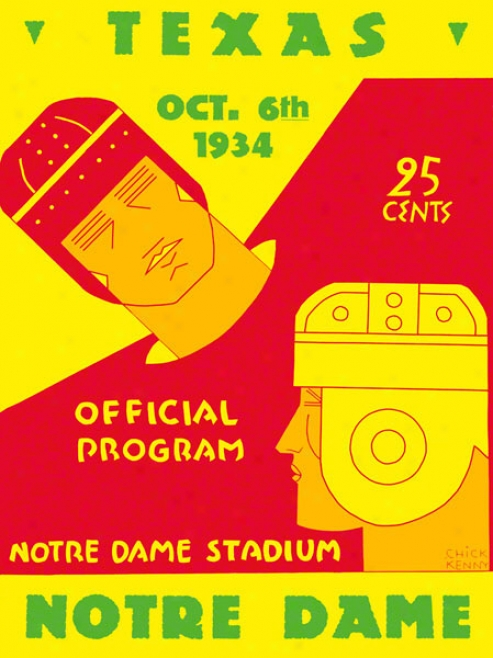 1934 Notre Dame Fighting Irish Vs Texas Longhorns 22 X 30 Canvas Historic Football Poster