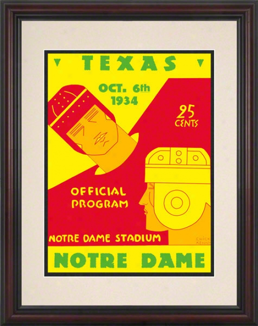 1934 Notre Dame Fighging Irish Vs Texas Longhorns 8.5 X 11 Framed Historic Football Poster