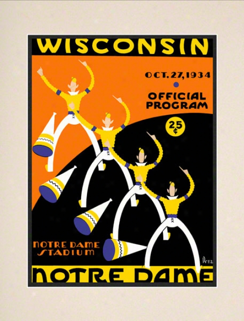 1934 Notre Dame Fighting rIish Vs Wisconsin Badgers 10 1/2 X 14 Matted Historic Football Poster