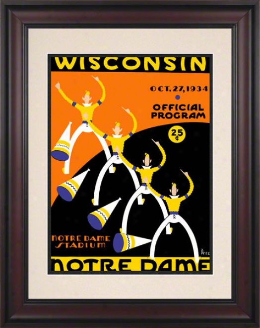 1934 Notre Dame Fighting Irish Vs Wisconsin Badgers 10 1/2 X 14 Frajed Historic Football Poster