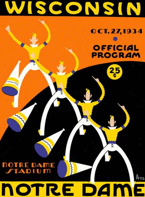 1934 Notre Dame Fighting Irish Vs Wisconsin Badgers 22 X 30 Canvas Historic Football Poster