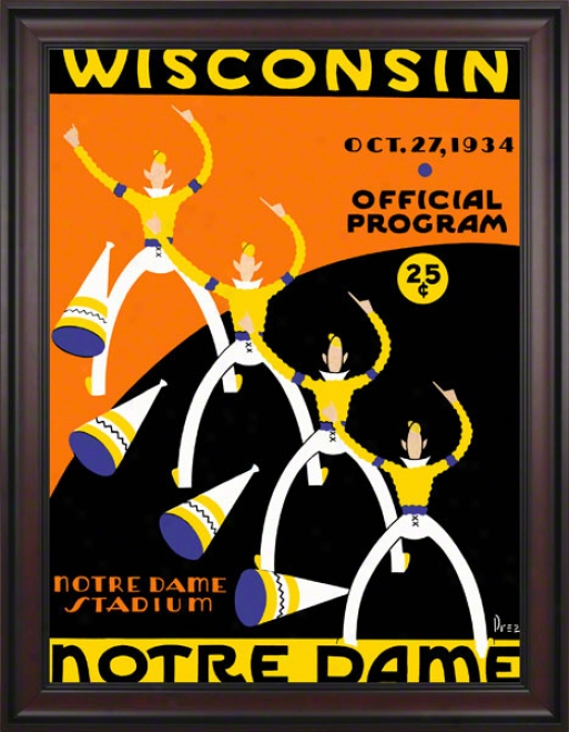 1934 Notr eDame Fighting Irish Vs Wisconsin Badgers 36 X 48 Framed Canvas Historic Football Poster