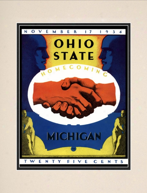 1934 Ohio State Buckeyes Vs. Mixhigan Wopverines 10.5x14 Matted Historic Football Print