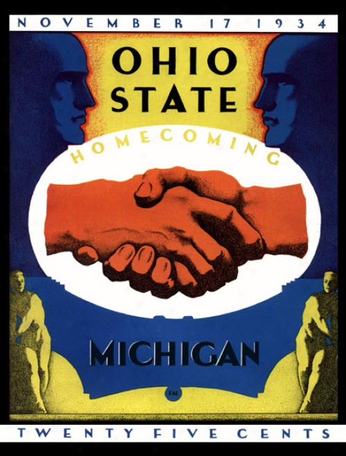 1934 Ohio State Buckeyes Vs. Michigan Wolverines 36 X 48 Canvas Historic Football Print