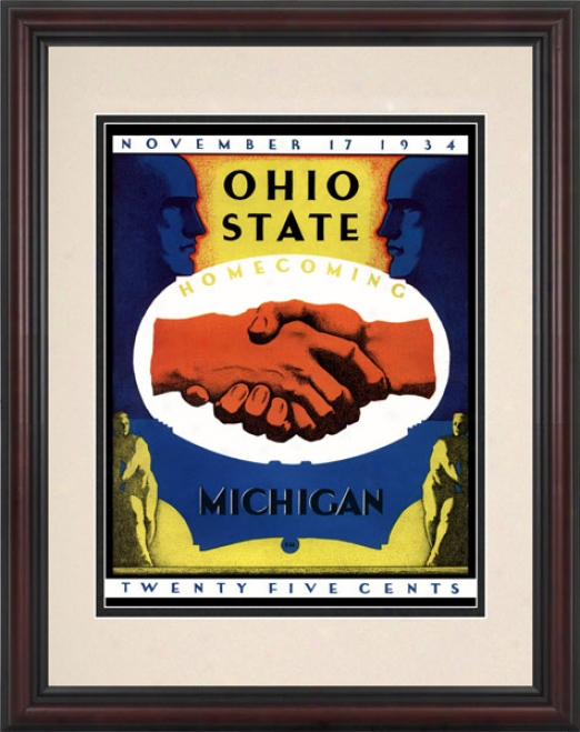 1934 Ohio State Buckeyes Vs. Michigan Wolverines 8.5 X 11 Frwmed Historic Football Print