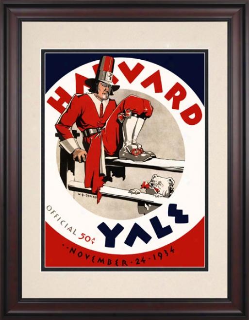 1934 Yale Bulldogs Vs. Harvard Crimson 10.5x14 Framed Historic Football Print