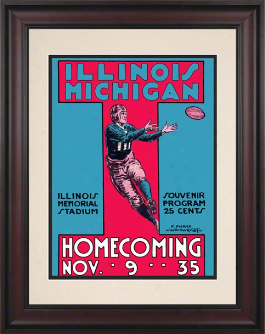 1935 Michigan Vs. Illinois 10.5x14 Framed Historic Football Print