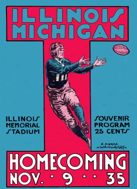 1935 Michigan Vs. Illinois 36 X 48 Canvas Historic Football Print
