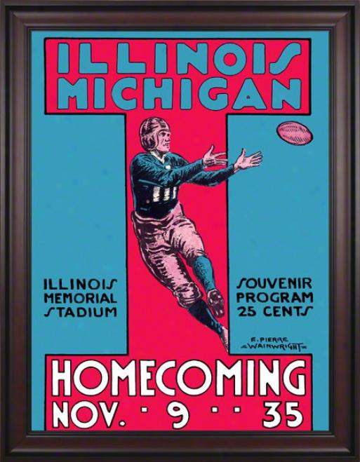1935 Michigan Vs. Illinois 36 X 48 Framed Canvas Historic Football Print