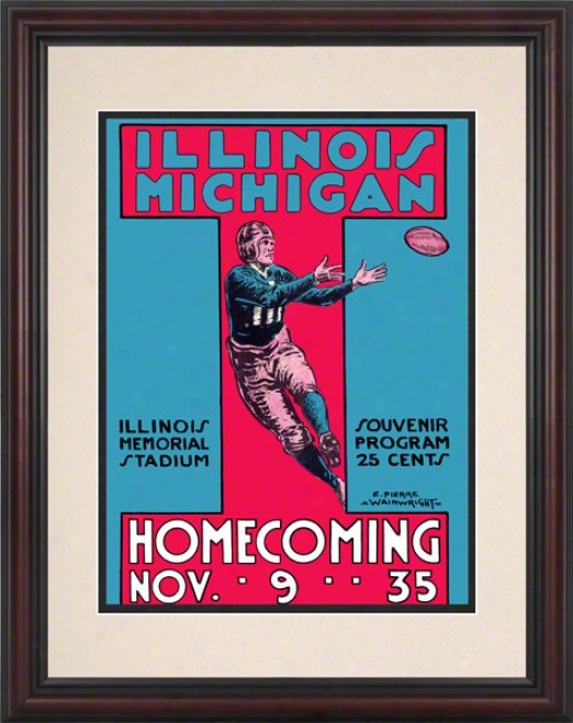 1935 Michjgan Vs. Illinois 8.5 X 11 Framed Historic Football Print