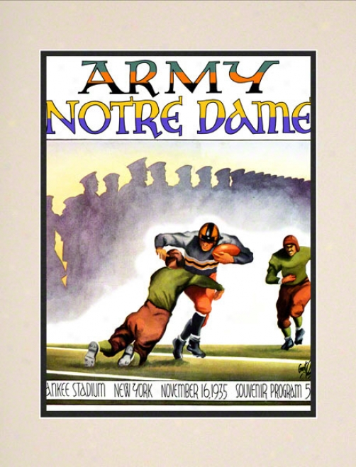 1935 Notre Dame Fighting Irish Vs Army Black Knights 10 1/2 X 14 Matted Historic Football Poster