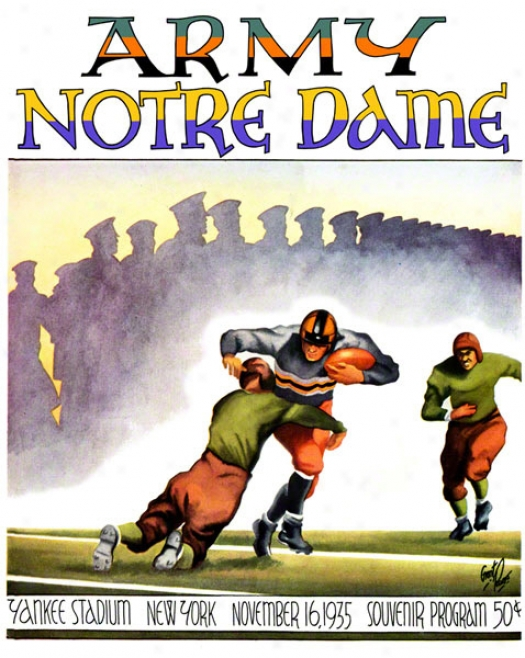 1935 Notre Dame Fighting Irish Vs Army Black Knights 36 X 48 Canvas Historic Football Poster