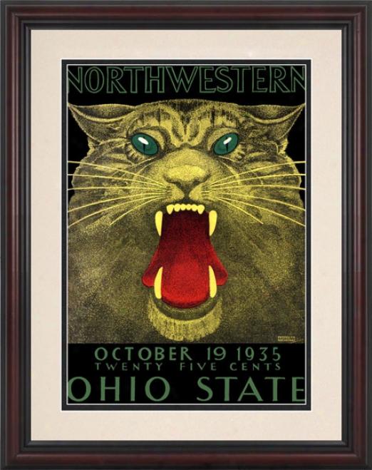 1935 Ohio StateB uckeyes Vs. Northwestern Wildcats 8.5 X 11 Framed Historic Football Print