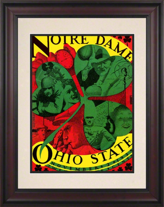1935 Ohio National Buckeyes Vs Notre Dame Fighting Irish 10 1/2 X 14 Framed Historic Football Poster