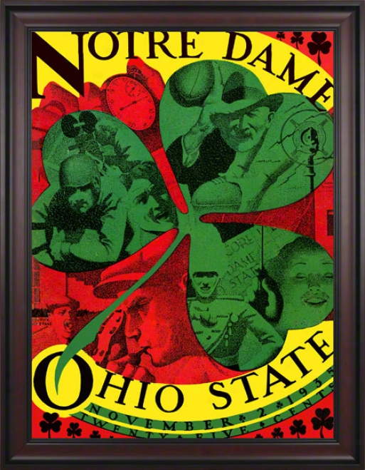 1935 Ohio State Buckeyes Vs Notre Dame Fighting Irish 36 X 48 Framed Canvas Historic Footbalk Placard