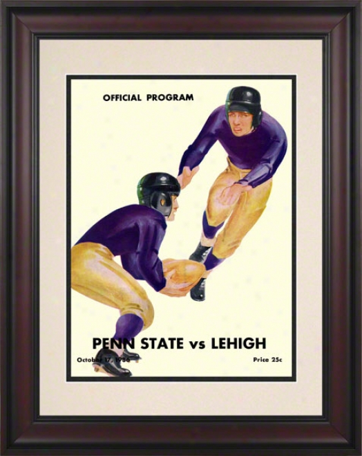 1936 Lehigh Mountain-hawks Vs Penn Condition Nittany Lions 10 1/2 X 14 Framed Historic Football Poster