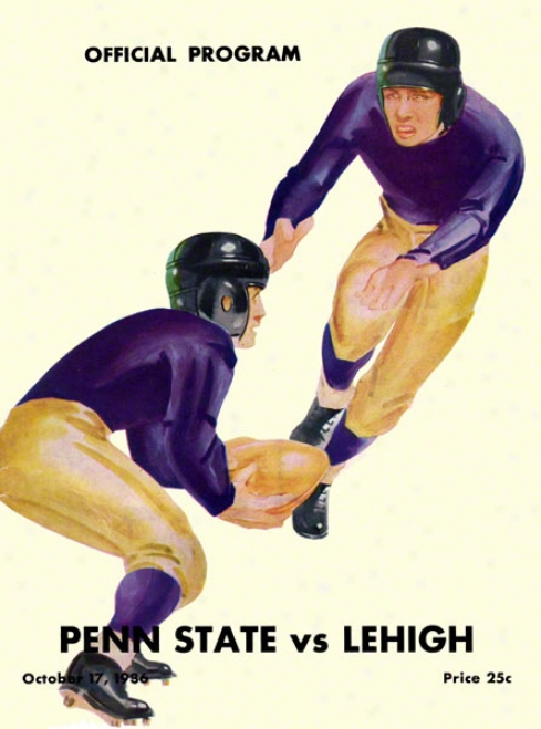 1936 Lehigh Mountajn-hawkd Vs Pebn State Nittany Lions 22 X 30 Canvas Historic Football Poster