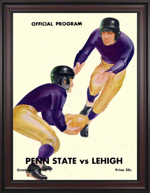 1936 Lehigh Mountain-hawks Vs Penn State Nittany Lions 36 X 48 Framed Canvas Historic Football Poster