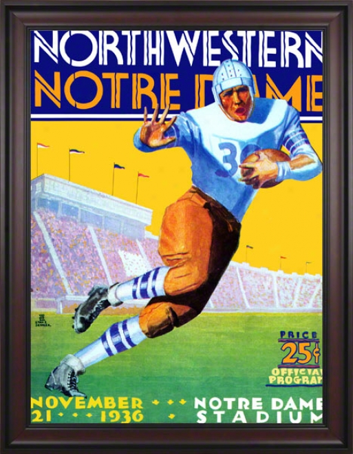 1936 Notre Dame Fighting Irish Vs Northwestern Wildcats 36 X 48 Framed Canvas Historic Football Poster